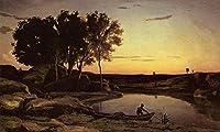 手描き-キャンバスの油絵 - Evening 風景画 aka The Ferryman Evening Jean Baptiste Camille Corot 芸術 作品 洋画 ウォールアートデコレーション -サイズ17