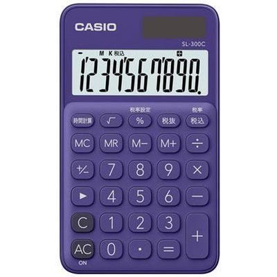 カシオ 電卓 10桁 (パープル)CASIO カラフル電卓 手帳タイプ SL-300C-PL