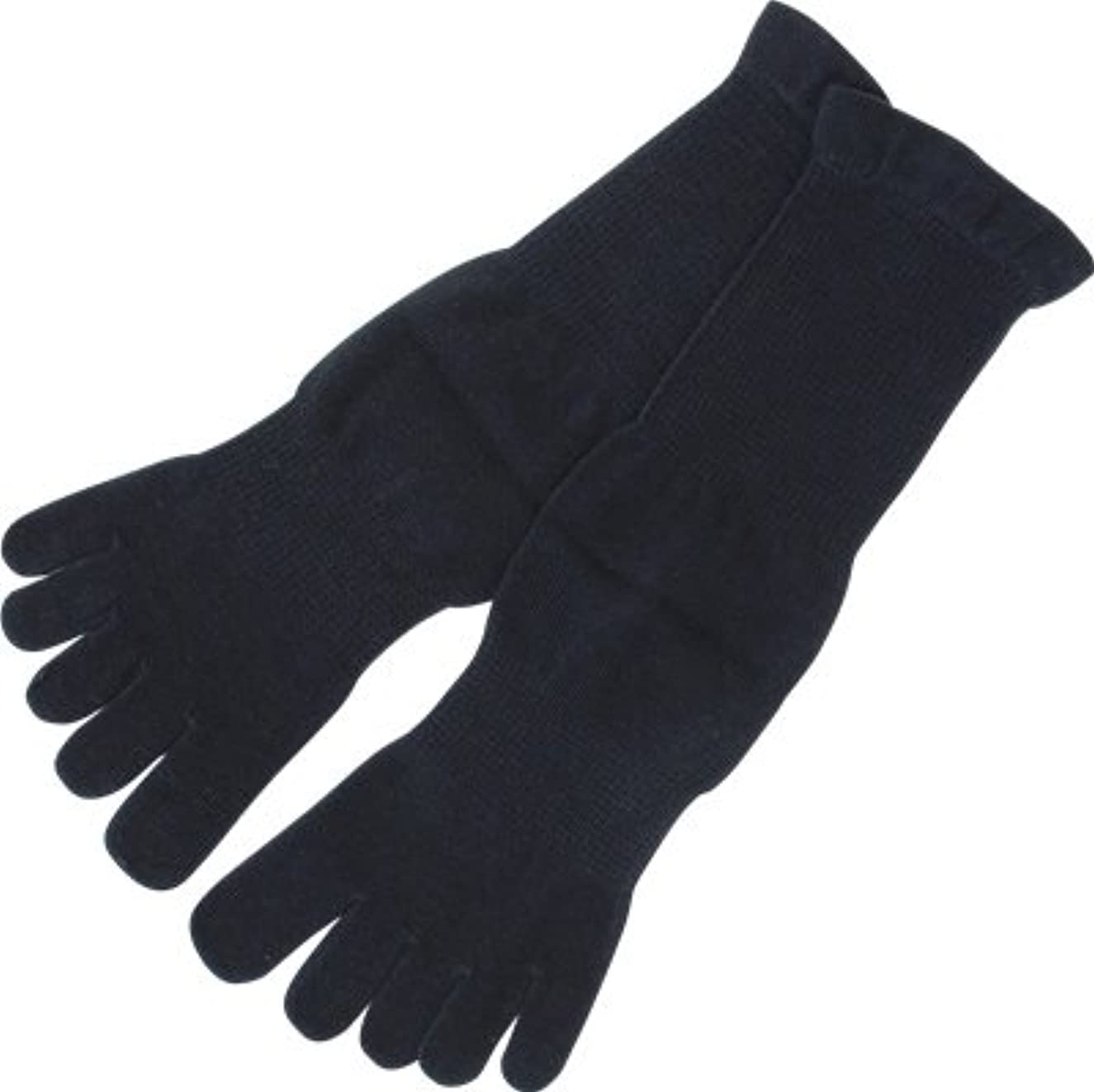 遠足メンタル偽装するフォロイング オーガニックコットン 裏糸なし5本指薄手ソックス 黒