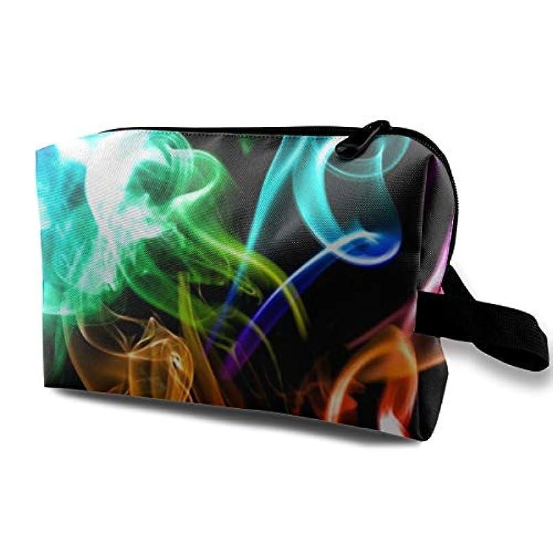準備ができて義務づける奨励しますSmoke Rainbow Color 収納ポーチ 化粧ポーチ 大容量 軽量 耐久性 ハンドル付持ち運び便利。入れ 自宅?出張?旅行?アウトドア撮影などに対応。メンズ レディース トラベルグッズ