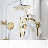 浴室のシャワーセット アメリカンスタイルのシャワーセット完全な銅白色のホットとコールドシャワー装置シャワーの混合弁蛇口シャワー装置 (設計 : B)