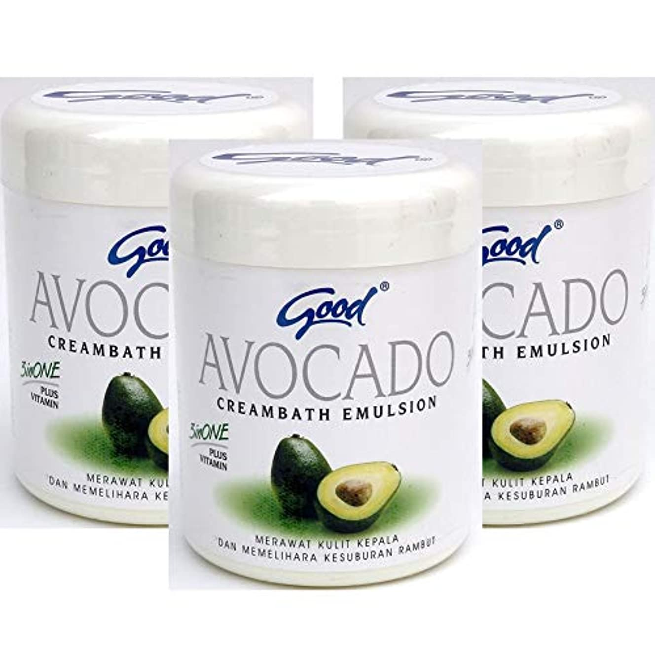 たくさんバーガーファイバgood グッド インドネシアバリ島の伝統的なヘッドスパクリーム Creambath Emulsion クリームバス エマルション 250g × 3個 Avocado アボガド [海外直送品]