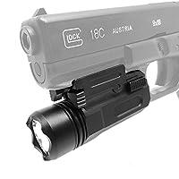 LuckSnatcher タクティカルライト (ウェポンライト) 小型 軽量 高輝度 LED (20mmレイル対応) + キャリーポーチセット 全長約75mm サバゲー 装備