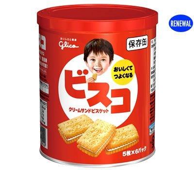 江崎グリコ ビスコ保存缶(非常食) 30枚×10個 -