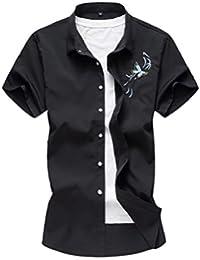 Keaac メンズカジュアルな夏のスリムフィットボタンダウンシャツ刺繍ワンピース