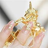 SIFASHION ユニコーン 宝石 ペンダント プノンペン 桜ピンク 美しい手作りネイルアート 無地ネイルチップ 24PCS (ユニコーン)