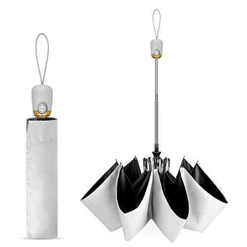 日傘 折り畳み傘 ワンタッチ自動開閉 UVカット軽量 8本骨 晴雨兼用 耐風撥水 収納ポーチ付き MataAsu (グレー)