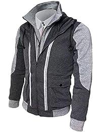 chenshiba-JP メンズ偽2ピースフルジップカラーブロックは、上着ジャケット上着