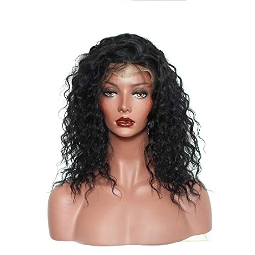 セクタ自発選択YOUQIU かつら女性のフロントレースの化学繊維ショートカーリーヘアウィッグセットウィッグ (色 : 黒)