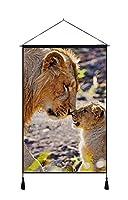 ホーム 壁掛けの装飾 アートキャンバス ポスター (50x75cm) 動物写真、母ライオンとカブ