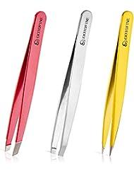 Gotofine 毛抜き 人気のピンセット ケース付き ツイーザー ステンレス製 3セット 使いやすい 眉毛