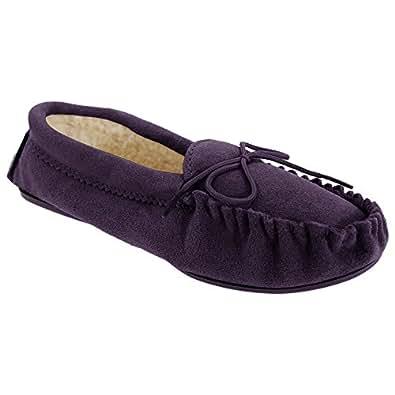 (モッカーズ) Mokkers レディース ウィメンズ アンジー モカシン リアルスエードスリッパ 婦人スリッパ 室内履き ルームシューズ 女性用 (4 UK) (紫)
