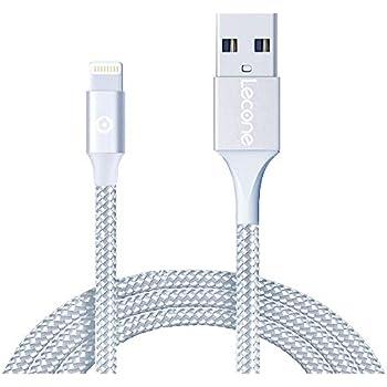 Lecone iPhone充電ケーブル ライトニングケーブル 【2M / Apple Mfi 認証 / 急速充電 / 高耐久編組ナイロン / データ転送】USB lightningケーブル アイフォン 充電ケーブル プレミアム柔軟性 iPhone 11 / 11 Pro / 11 Pro Max / XR / XS / XS Max / 8 / 7 / 6S / iPad / iPod lightning usb各種対応 コンパクト端子(銀)