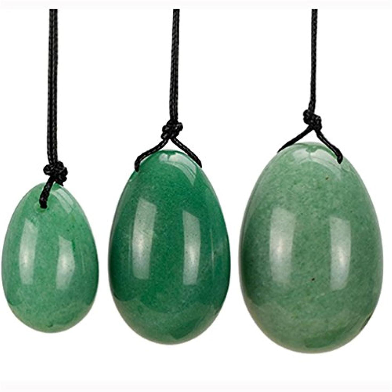 3 pcs YONI jade eggs ネフライトジェイドエッグ(翡翠卵)3個セット、健康?癒し?マッサージに効くヒーリングストーン?パワーストーンとして、またはエッグエクササイズ(膣トレ?ケーゲル体操) (翡翠卵)