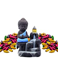 (Blue) - Incense Burner Backflow Set Mixed Aromatherapy Tower Cones Sticks Holder Ceramic Waterfall Buddha Monk...