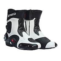 Fenteer 全18種類 メンズ オートバイ靴 バイク用レーシングブーツ ライディングシューズ レーシングブーツ 1ペア - ホワイト , 45