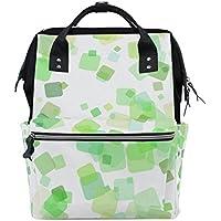 ママバッグ マザーズバッグ リュックサック ハンドバッグ 旅行用 緑正方形 ファション