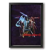デビル メイ クライ 5 Devil May Cry5 縦3D柄プリン アートフレームモダン ブラック 背景絵画 インテリア デザイン 寝室 壁 風景画 装飾 軽くて取り付けやすい 30×40cm