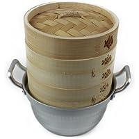 蒸篭(セイロ) 2段(本体2個蓋1個)鍋つきセット 業務用 せいろ蒸し器 (竹セイロ15cm)