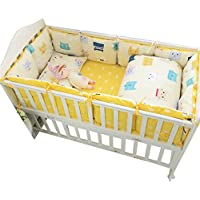 Rart コットンのベビー寝具セット,ユニセックス赤ちゃんベビーベッド バンパー 無衝突赤ちゃんベビーベッド バンパー パッド入りのベッド バンパー バンパーのすべてのラウンド-F 28x51inch*4