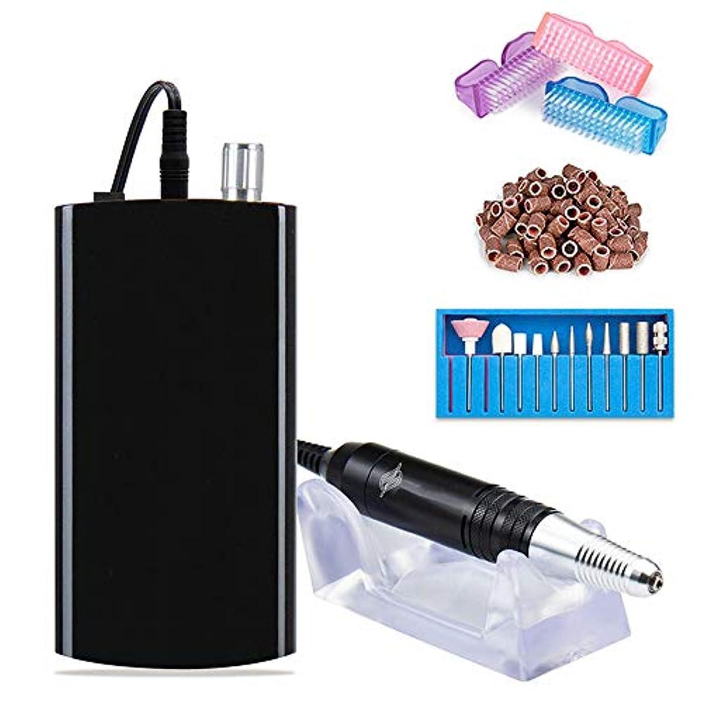 罪人地中海肌電気釘のドリルの再充電可能な携帯用爪やすり、6つの位置を粉砕する専門のアクリルのゲルの釘および家族の大広間に適したベルトのマニキュアの形,黒