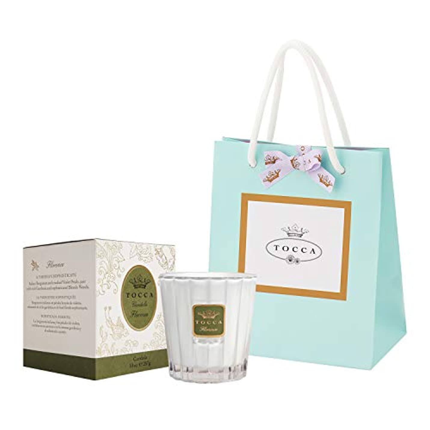 準備したフィードオンお風呂を持っているトッカ(TOCCA) キャンドル フローレンスの香り 約287g ショッパー付 (ろうそく ギフト 手提袋付 上品なフローラルの香り)