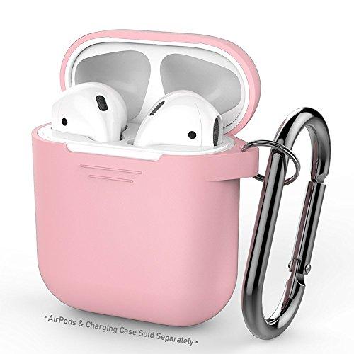 AirPods用AhaStyleシリコンケース [防塵栓] [オールラウンド保護] [携帯に便利] (改善版-ピンク)