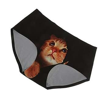 【ノーブランド 品】女性 セクシー 3D 猫プリント パンティー ランジェリー 下着 全6色 - ブラック