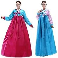 韓国 民族衣装 チマチョゴリ 豪華 オシャレ コスプレ パーティードレス  服装 コスチューム ハロウィン (S, ブルー*ローズ)