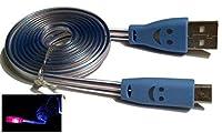 理想的な時間–Micro USBデータケーブルwith LEDライト(ブルー)
