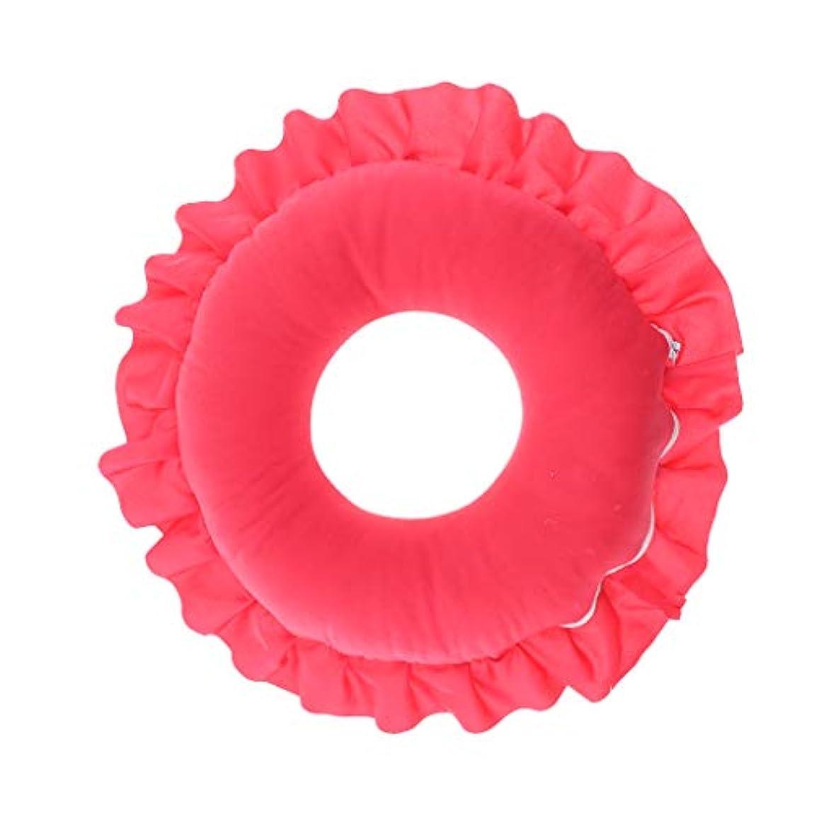 ロールミシン目絶対にD DOLITY マッサージ枕 顔枕 マッサージピロー 美容院 柔らかくて快適 取り外し可能 洗える 全4色 - 赤