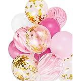 Hanakaze ピンク 誕生日 飾り付け 20枚組 40cm ゴールドの紙吹雪風船瑪瑙マーブルストライプアソートカラーパーティー風船 結婚式華やか おしゃれ バースデー デコレーション 男の子、女の子
