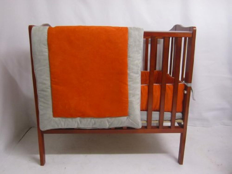 Baby Doll Bedding Zuma Mini Crib/ Port-A-Crib Bedding Set, Grey/Pumpkin by BabyDoll Bedding