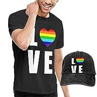 ブラックサーカス レインボー ハート Tシャツ メンズシャツ 帽子とシャツのセット 服 運動 カジュアル おしゃれ 普段着 シンプル 実用 3XL