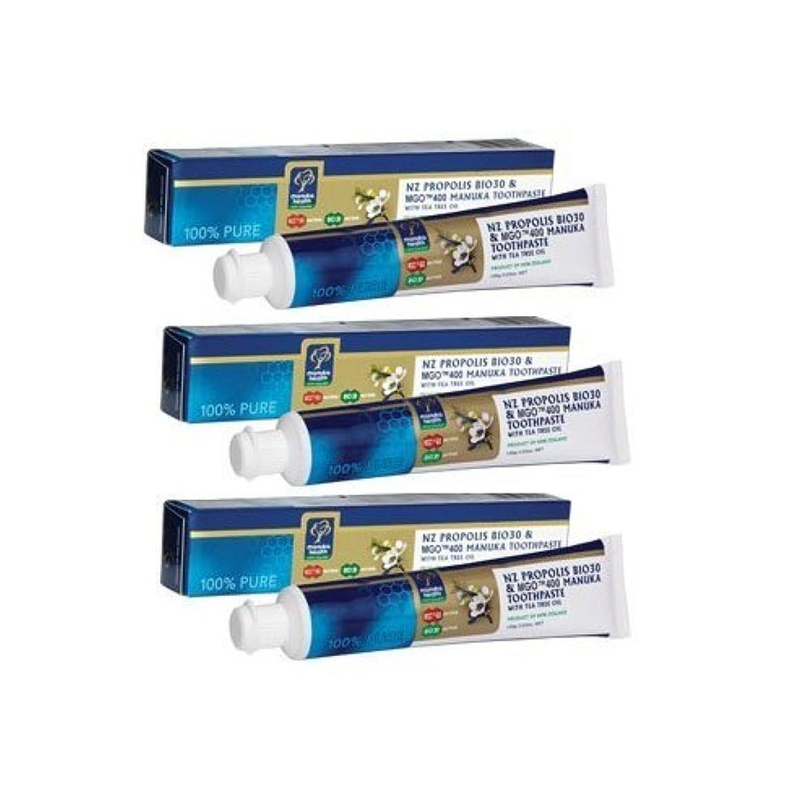 増幅アシスト耐久プロポリス&マヌカハニー MGO400+ 歯磨き粉 x 3本セットティーツリー配合 [海外直送品][並行輸入品]