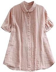 女性の半袖Tシャツ - ピーターパンカラー夏緩い無地カジュアルダウントップスブラウス (ピンク, XL)