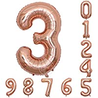 アラビア数字 パーティー 結婚式 イベント 誕生日 記念日 忘年会  ハロウィン  クリスマス  40インチ 装飾用 アルミ風船 シャンパンカラー バルーン (3)