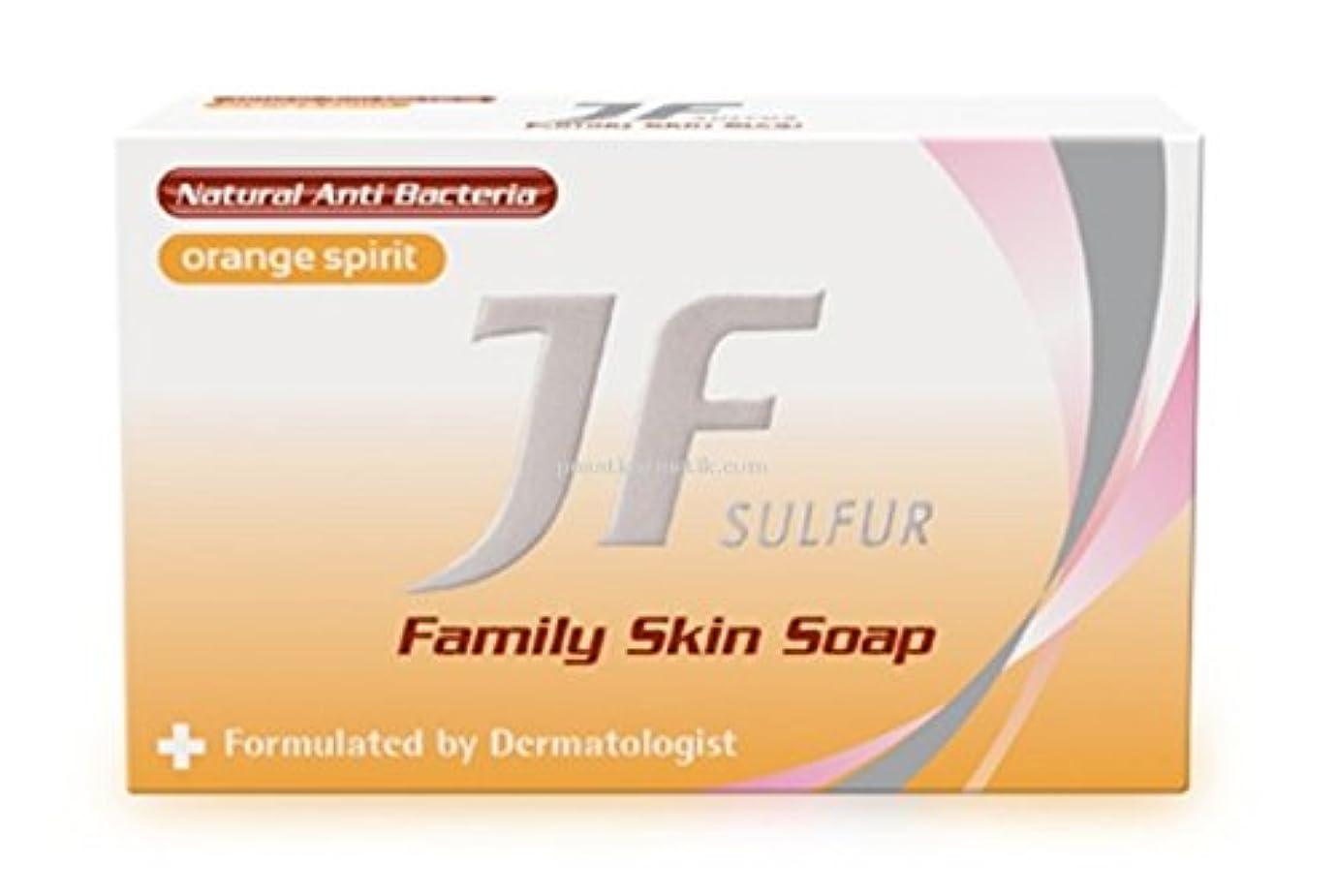 弱点可決図JF Sulfur ファミリー消毒石鹸オレンジスピリット、90グラム(4パック)