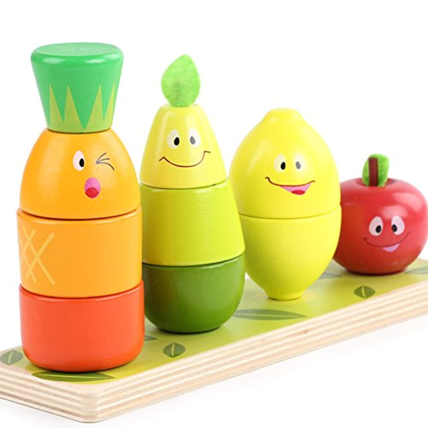 Lewo Wooden Educational Toy Fruit Shape Colour Sorter Stacking Block Chunky Puzzle for Baby Toddlers
