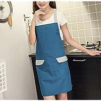 キッチン防水オーバーオールかわいいエプロン耐油性ノースリーブ二重層 (Color : Navy blue, UnitCount : 2PCS)