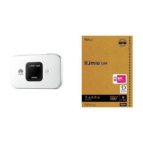 Huawei SIMフリーモバイルwi-fiルーター E5577S ホワイト 日本正規代理店品  IIJデータ専用標準SIMカードウェルカムパック セット