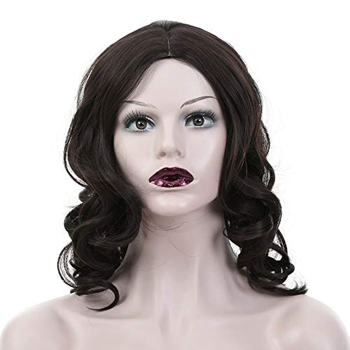 褐色ばかギャラリーWASAIO 女性の黒の長い巻き毛のかつら (色 : 黒)
