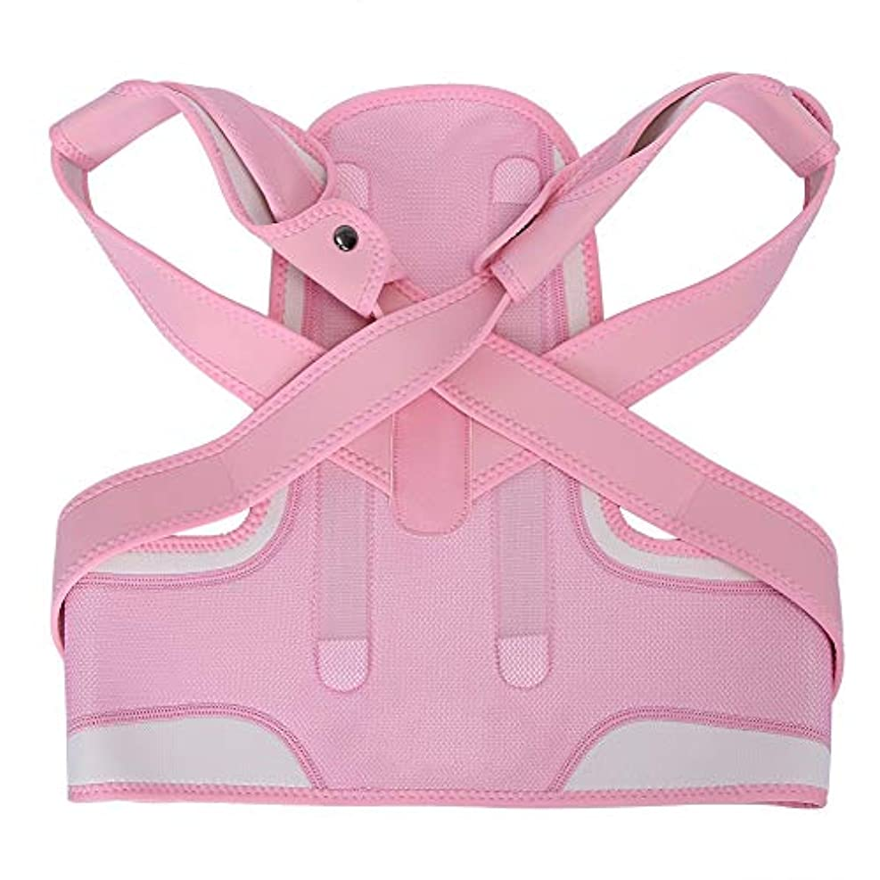 Acogedor バック矯正サポーター 子供用の脊柱サポート 調節可能 姿勢矯正ベルト 通気性と吸汗性に優れる 健康管理 4サイズ ピンク(M)