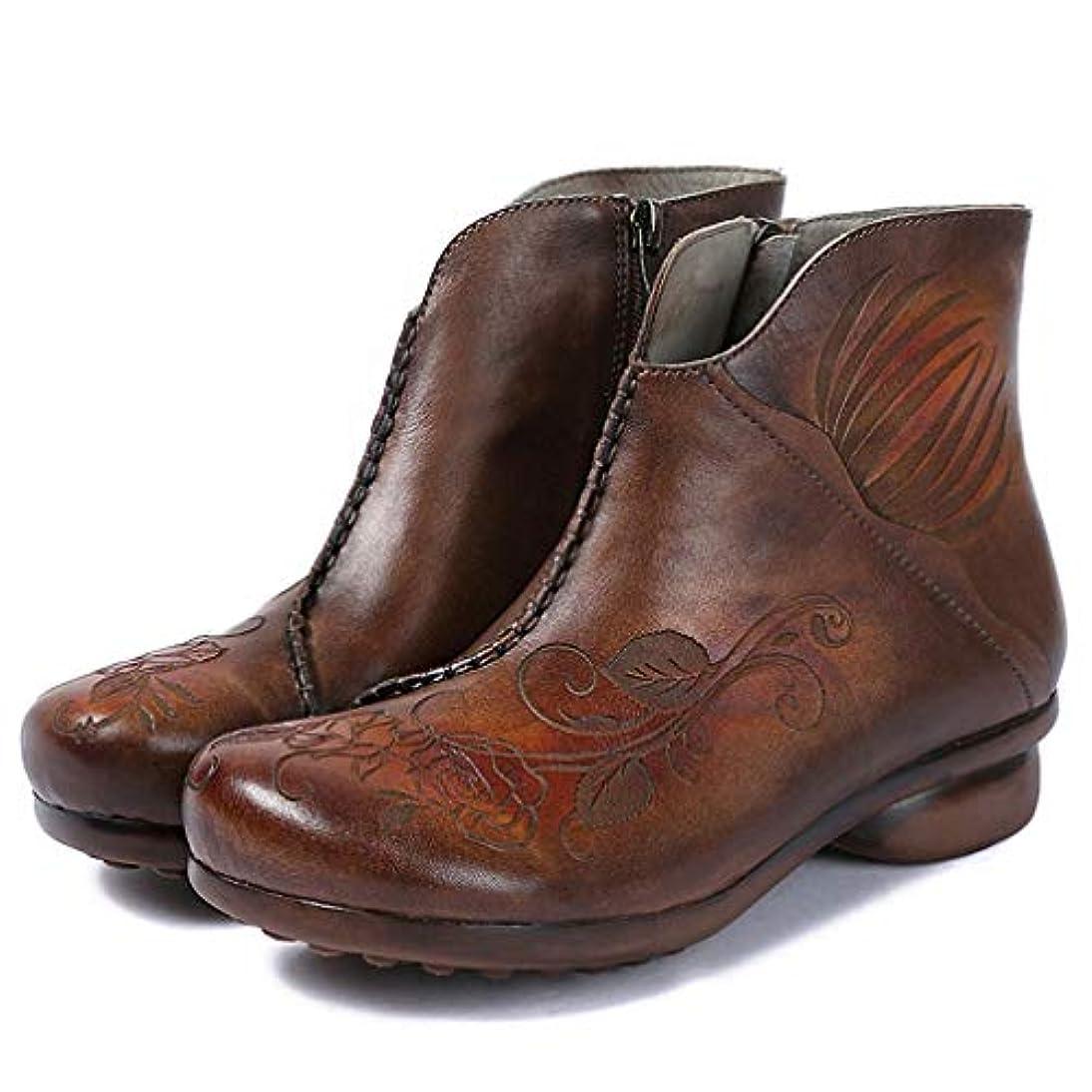 失風味反対した女性の足首のブーツ、秋冬レザーシューズビンテージの花厚手のローヒールの靴ファッションウォーキングシューズ (色 : A, サイズ : 36)