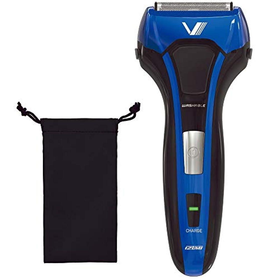 歯科のラメ封建IZUMI S-DRIVE ソリッドシリーズ 3枚刃 往復式シェーバー ブルー IZF-V538-A-EA
