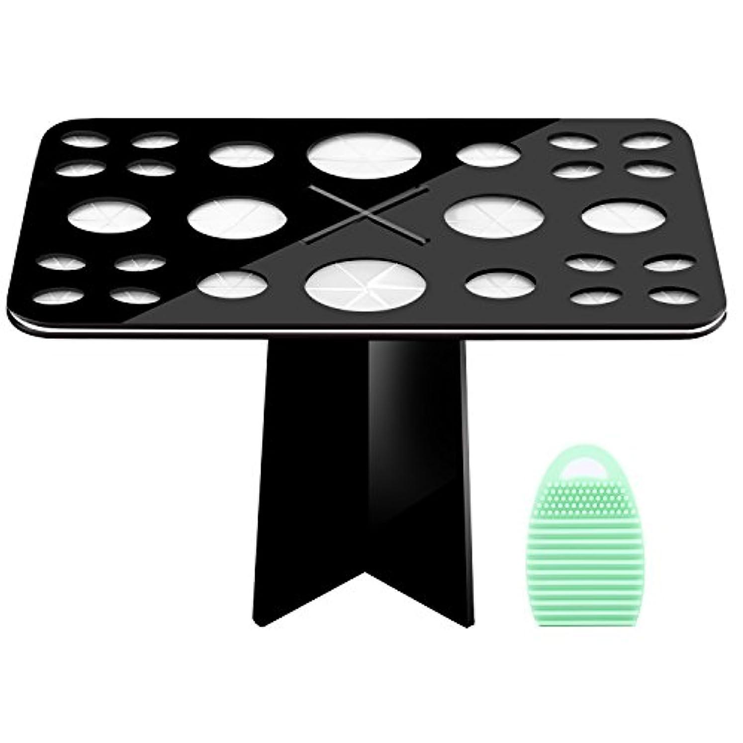 拒絶記念碑邪悪なメイクブラシスタンド+メイクブラシクリーナーセット - Luxspire コスメホルダー 小型軽量の洗濯板 ブラシ洗濯とブラシ乾かすのに最適