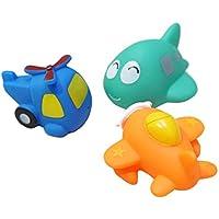 【ノーブランド 品】カラフル 3個 面白い 漫画 ミニ ゴム 飛行機 風呂 おもちゃ パック 贈り物