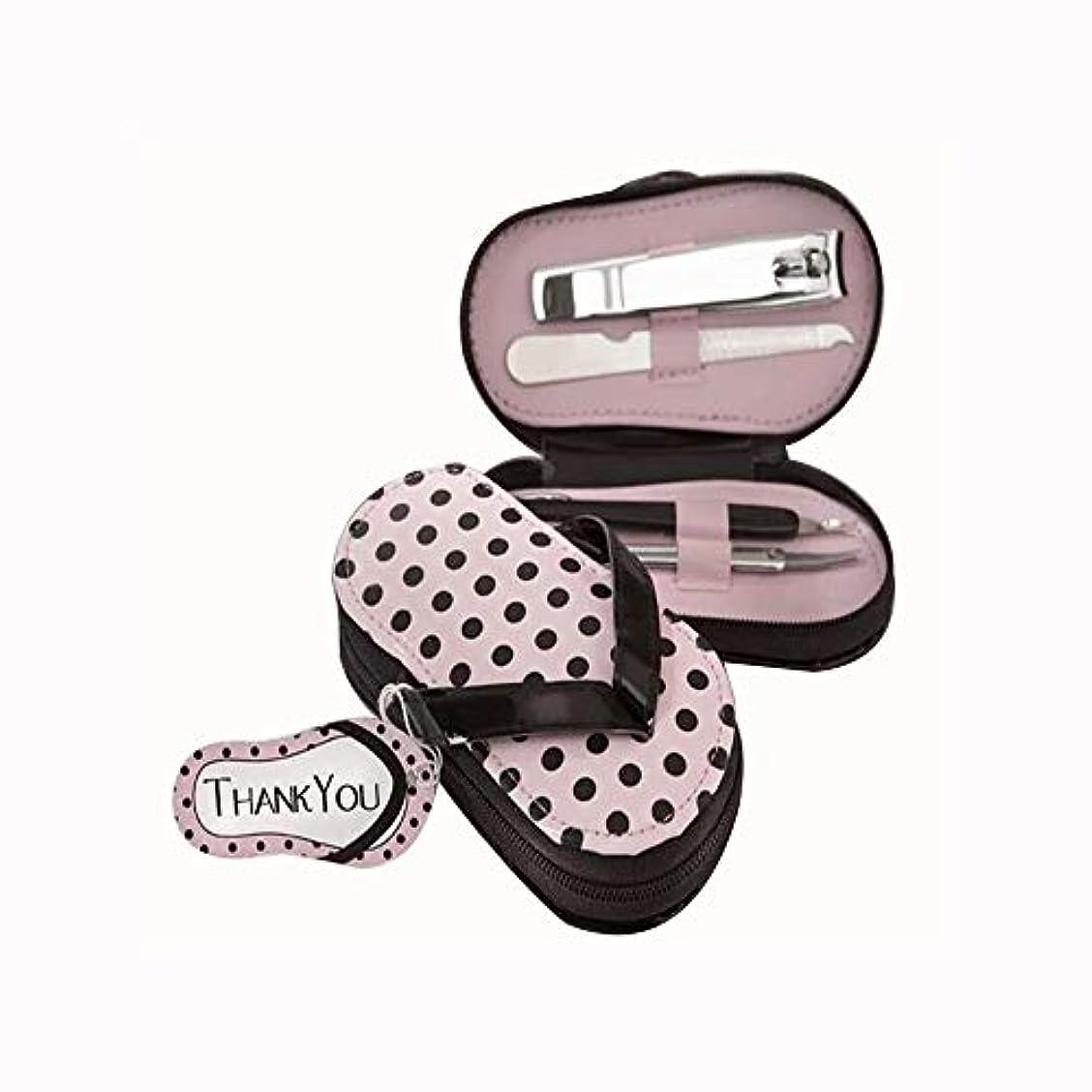 食い違い買う息苦しい爪切り セットスリッパの外観ステンレス爪切りセットファッション爪切りセット収納ケース付き、ピンク、4点セット