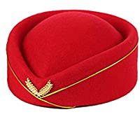 CHENDX High Quality Hat, Perform Band Cosplay Party Beret Hat Women's Wool Pillbox Stewardess Air Hostesses Waitress Base Cap Fashion (Color : Red)