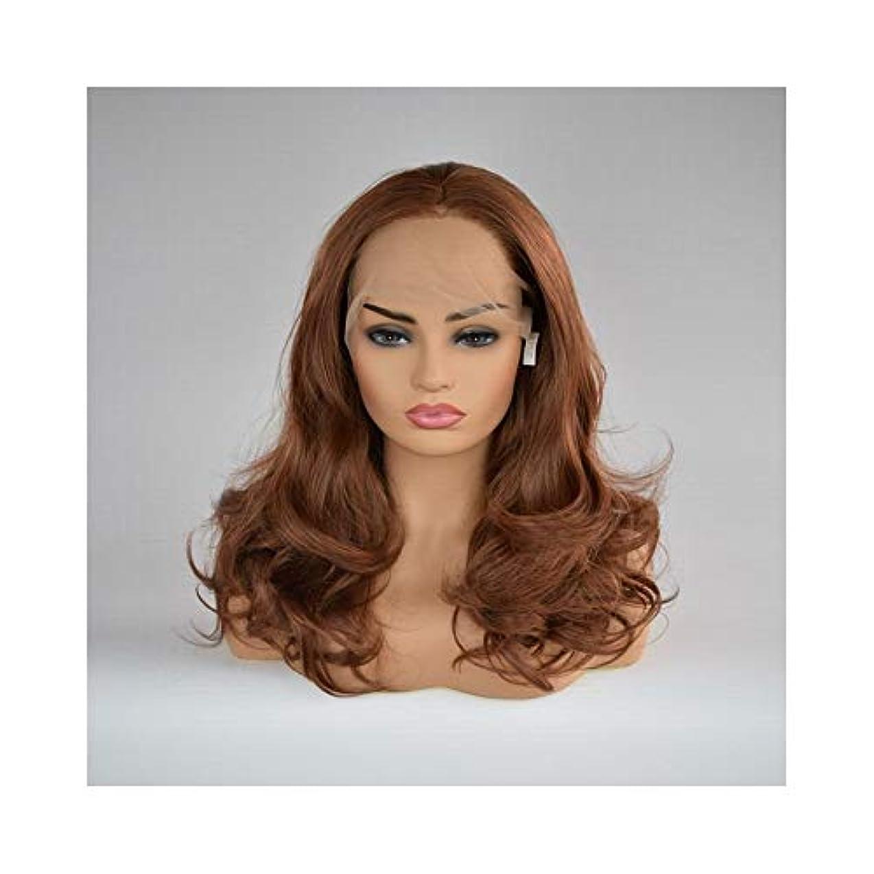 意義クールアドバイスYOUQIU ショートボブレースフロントウィッグ合成ダークブラウンウィッググルーレスウェーブ髪の耐熱性繊維ウィッグ (色 : Dark brown)